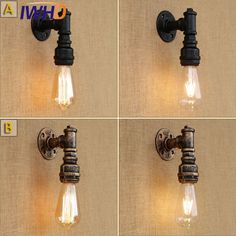 IWHD Loft Style Antique Water Pipe Lamp Retro Industrial Edison Wall Sconce Iron Vintage Wall Light Fixtures Indoor Lighting