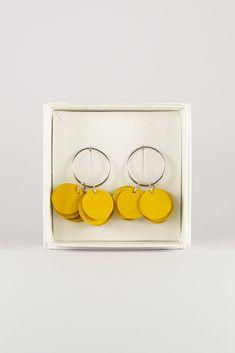 Yellow Kallas stud earrings by Oikku Design. Reindeer, Stud Earrings, Yellow, Leather, Handmade, Design, Hand Made, Stud Earring