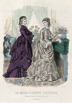 1872. The illustrated elegant fashion. Dress dark purple cashmere. The skirt is trimmed with a flyer provided by a series of three folds separated by a space equal to that occupied by the folds...