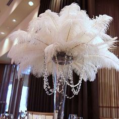 100 pcs White TAIL Ostrich Feathers 13-16wedding table
