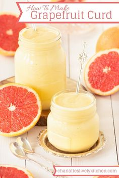 How to make delicious, smooth grapefruit curd. Brownie Desserts, Oreo Dessert, Mini Desserts, Just Desserts, Delicious Desserts, Dessert Recipes, Yummy Food, Grapefruit Recipes Dessert, Party Desserts