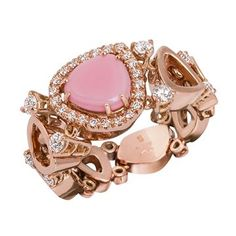 Anello morbido a fascia singola in oro rosa, diamanti e una queen conch