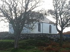 The Church of Scotland on a hill above the Colonsay Hotel.