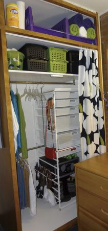 Freshman Dorm...tight space!, There are two in this small room.  The walls are brick and you can only use adhesive strips.  The closets have a built in safe.  The bed, dresser, desk are included and must remain.  A fun challenge., This closet ended up with lots of space and storage, leaving more room to work on the desk.     , Dorm Rooms Design