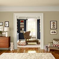 Simple Neutral Living Room Color, Benjamin Moore- Shaker Biege walls