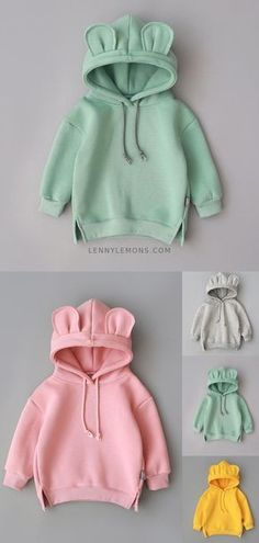 If you're cold you might as well be cute as can be in a sweatshirt top with ears ♥ Cutest sweatshirt for girls and boys. Gray, green, yellow and pink sweatshirts. Lenny Lemons Collection Source by Kids Outfits Girls, Baby Boy Outfits, Trendy Outfits, Cute Outfits, Baby Girl Fashion, Toddler Fashion, Kids Fashion, Cheap Fashion, Fashion Clothes