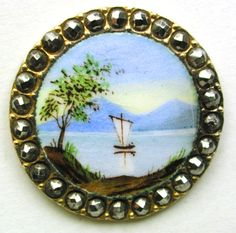 Antique French Enamel Button Sail Boat on Lake Scene w/ Cut Steel Border 15/16""