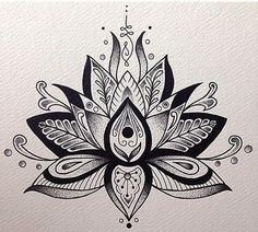 Unalome and lotus flower bodyart tattoos, lotus mandala tattoo, mandala Lotus Mandala Tattoo, Lotus Flower Mandala, Lotus Mandala Design, Lotus Design, Lotus Tattoo Design, Lotus Flowers, Mandala Art, Design Art, Neue Tattoos