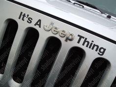"JEEP Wrangler ""Jeep Thing"" Hood Emblem Vinyl Decal Sticker JK Sahara Rubicon"