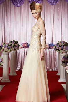 Chiffon Sequin Embroidered Wedding Dress - A full length long sleeved formal wedding gown with glittering embroidered sequins covered bodice and built in waistband.
