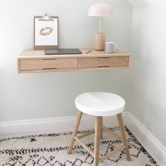 Floating desk is one of the most popular home desk ideas for small space living. This desk is installed directly on the wall, without any legs. You can install it in front of an alcove window Desks For Small Spaces, Furniture For Small Spaces, Desk In Small Space, Ikea Small Desk, Space Saving Desk, Oak Desk, Bedroom Desk, Small Desk For Bedroom, Bedroom Office
