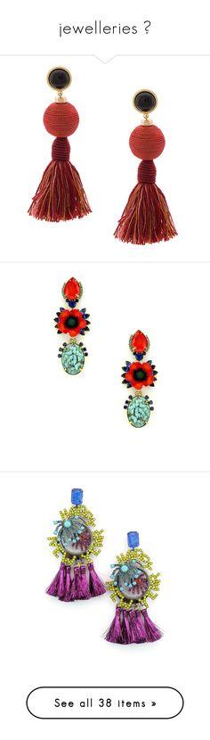 """jewelleries 🍒"" by lianafourmouzi ❤ liked on Polyvore featuring jewelry, earrings, red, tassle earrings, tassel jewelry, red jewellery, red tassel earrings, red drop earrings, poppy and poppy jewelry"