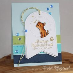 Pet sympathy card by Nichol Magouirk - using Simon Says Stamp Pawprints On Our Hearts stamp set and Mama Elephant Purrfect Pair stamp set