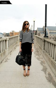 Black and white striped top / lace skirt
