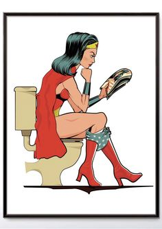 Even comic book superheroes need a toilet break! This Wonder Women on the loo print shows one of the founding member of the Justice League having some ME time and catching up on the goss! The perfect gift for a comic superhero fan this print is sure to ra Wonder Woman Art, Wonder Women, Superhero Bathroom, Superhero Wall Art, Comic Book Superheroes, Comic Books, Simpsons, Bathroom Art, Bathroom Small