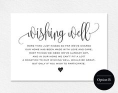 Wishing Well Card Wedding Wishing Well by BlissPaperBoutique