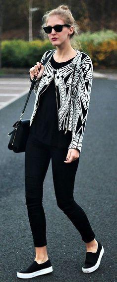 Impression Jacquard Knitted Biker Jacket