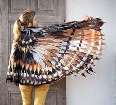 Large, impressive nuno felted scarf like brown owl wings. Wearable art, warm wool poncho, bohemian style. I made it of soft merino wool and brown silk