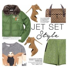 """Jet set style"" by punnky ❤ liked on Polyvore featuring Prada, Chanel, Giuseppe Zanotti, Carven, Hermès, Valentino, Vagabond and Haute Hippie"
