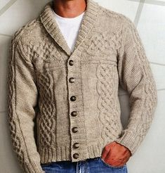 New Knitting Cardigan Men Guys Ideas Knitting Daily, Hand Knitting, Hand Knitted Sweaters, Knitted Hats, Handgestrickte Pullover, New Mens Fashion, Sewing Clothes, Knit Cardigan, Celtic
