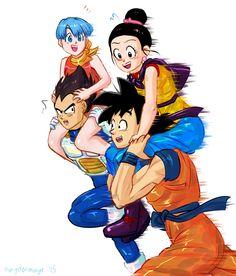 Bulma, Vegeta, Goku, and Chichi