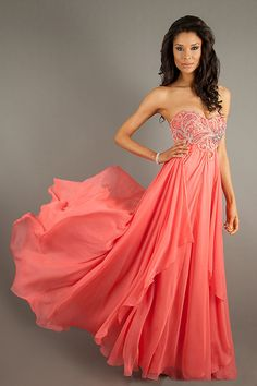 2014 Sweetheart Prom Dress Beaded Bodice A Line With Shirred Chiffon Skirt USD 169.99 LDP6Q3M7XH - LovingDresses.com