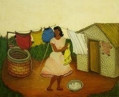 HEITOR DOS PRAZERES (1898 - 1966) Mulher pendurando roupa no varal Óleo s/ tela 50 x 61 cm ass. inf. direito 6 - 6 - 1964