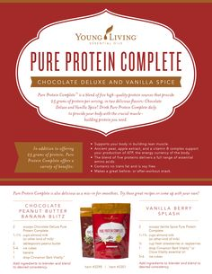 Young Living Pure Protein Complete in Chocolate or Vanilla Spice Cooking With Essential Oils, Yl Essential Oils, Young Living Essential Oils, Yl Oils, Calendula Benefits, Matcha Benefits, Protein Supplements, Protein Foods, Protein Recipes