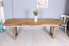 £250  8 ft very rustic homemade reclaimed pine table with 5 thick reclaimed pine planks, sturdy heavy table seats around 10 people - buy it now direct from the website -