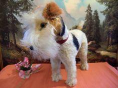 Steiff XXL size Foxy Foxterrier Dog 35 cm w Button Flag chesttag VGC 1950-58
