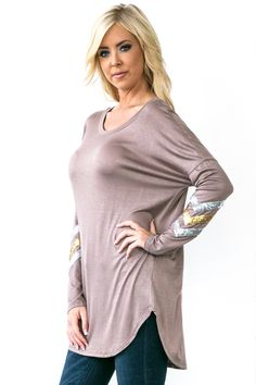 Comfortable mocha top with sequin chevron sleeve. $32 shipped, S-M-L Purchase here https://www.facebook.com/photo.php?fbid=10153794342693686&set=pcb.1017707494955193&type=3&theater