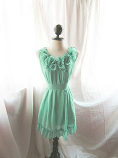 Romantic Minty Green Rose Angelic Rosette Dress by RiverOfRomansk Chiffon Ruffle, Ruffle Dress, Dress Up, Ruffles, Mint Green Dress, Green Rose, Cute Dresses, Beautiful Dresses, Sunday Dress