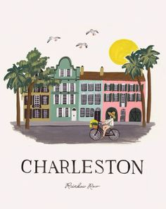 Rifle Paper Co. Charleston Print - 11 x 14 Rainbow Row Charleston, Charleston South Carolina, Charleston Sc, Charleston Dress, Southern Charm, Southern Belle, Southern Living, Southern Prep, The Places Youll Go