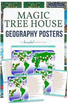 Magic Tree House around the world elementary geography posters! Printable, full color posters with settings for the original series books Homeschool Apps, Montessori Homeschool, Geography For Kids, Map Skills, Life Skills, Magic Treehouse, House Map, Books For Moms, Resource Room