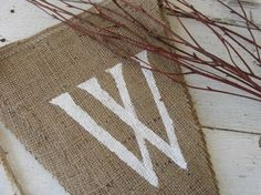WINTERWhite+Glittered+Burlap+Banner+Pennant+Bunting+by+funkyshique,+$26.00