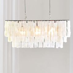 This is the one that Ree likes: Large Rectangle Hanging Capiz Pendant - White