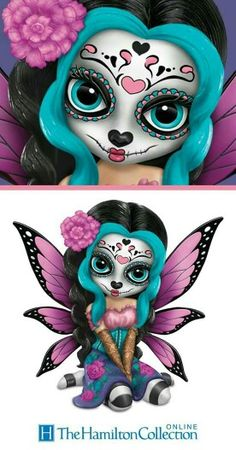 Zaria's room celebrate the mystical, centuries-old tradition of sugar skull artistry with this Jasmine Becket-Griffith fairy figurine! Sugar Skull Mädchen, Sugar Skull Tattoos, Caveira Mexicana Tattoo, Tribal Tattoos, Ear Tattoos, Celtic Tattoos, Sleeve Tattoos, Day Of The Dead Skull, Skull Artwork