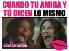 meme ok chicas mujeres sonriendo con boca abierta