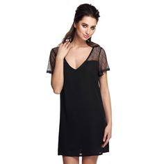 Black Stylish Ladies V Neck Hollow Net Yarn Patchwork Loose Mini Chiffon Going Out Casual Dresses