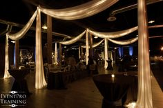 Tiffany Blue and Chocolate Wedding Color Theme: ceiling draping and lighting - cannery ballroom - nashville tn