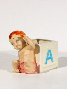 Vintage NAPCO ~ BABY BOY ABC Block PLANTER ~ Hand Painted Ceramic ~ Rare