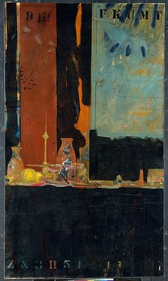 raymond saunders (1934- ), something about something, 1963. oil and charcoal on canvas, 165.4 x 96.5 cm. the metropolitan museum of art, new york, usa http://metmuseum.org/