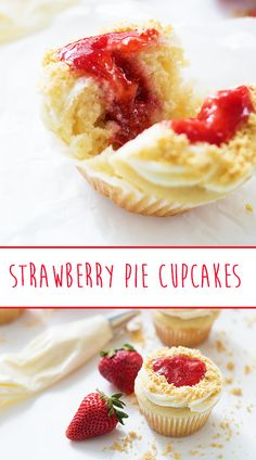 These Strawberry Pie Cupcakes are the perfect pie-cake for summer. Made with Frozen Berries and Golden Oreos! Strawberry Pie, Pie Cake, Oreos, Berries, Cheesecake, Frozen, Cupcakes, Sweets, Desserts