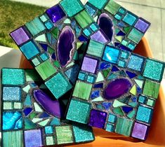 Items similar to Mosaic Coasters Agate Bar ware set of 4 Rich colors turquoise purple metallic Italian glass tile on Etsy Mosaic Diy, Mosaic Crafts, Mosaic Projects, Mosaic Glass, Mosaic Tiles, Stained Glass, Mosaic Mirrors, Glass Tiles, Mosaic Garden