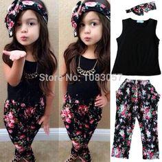 Moda de las muchachas florales traje casual ropa de niños sin mangas + venda 2015 del