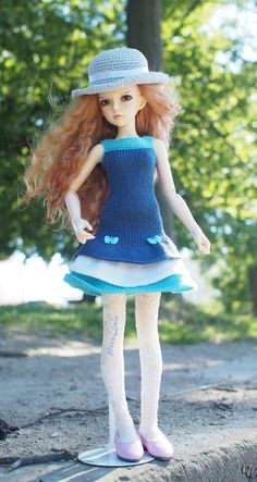 #Minifee #Blue #summer #dress, #Clothes for #MSD, #BJD, #Tonner, #knitting for #dolls #17inches, Dress for #17-indoll, #outfit for BJD