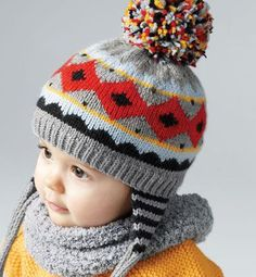 Шапка (д) Phildar Note the earflap knitted in the round. Baby Hat Knitting Pattern, Baby Hats Knitting, Knitting For Kids, Easy Knitting, Knitted Hats, Love Crochet, Crochet Baby, Knit Crochet, Tricot Baby