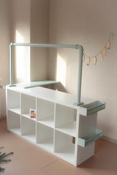 Diy playroom - Vinyl steps for stair renovation Play Kitchens, Girl Room, Girls Bedroom, Kids Grocery Store, Stair Renovation, Kids Cafe, Play Shop, Playroom Decor, Playroom Ideas