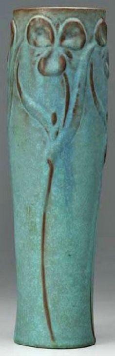 Van Briggle Pottery; Vase, Cylindrical, Trefoils, Matte Blue Glaze