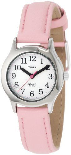 Timex Kids' T79081 My First Timex Pink Leather Strap Watch: http://www.amazon.com/Timex-T79081-First-Leather-Strap/dp/B0009NX3F2/?tag=pinter08-20